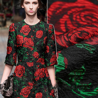 The new red rose years spring France stereo jacquard brocade fashion fabric concavity crisp fabric