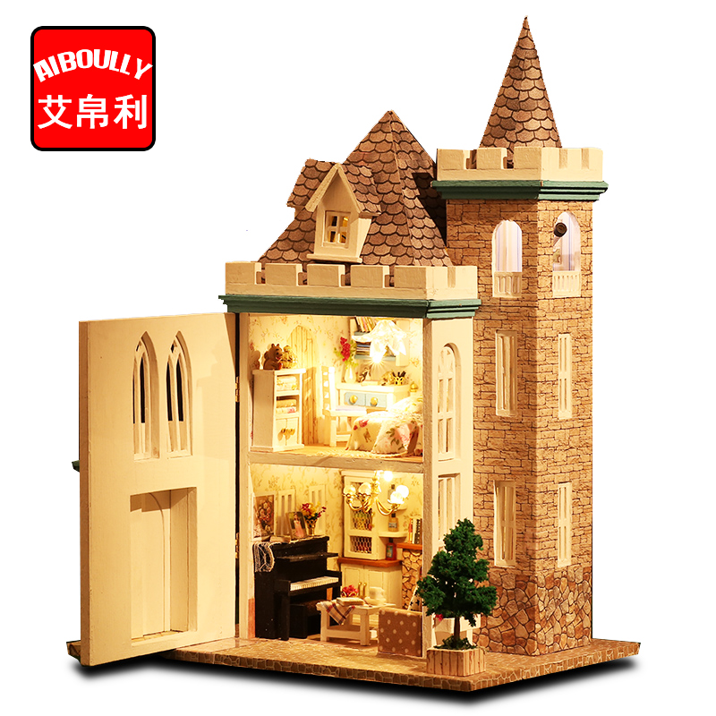 AIBOULLY Dollhouse Miniature DIY Handcraft Kit Dolls House With Furniture Moonlight Castle Set Best Birthday For Children H037