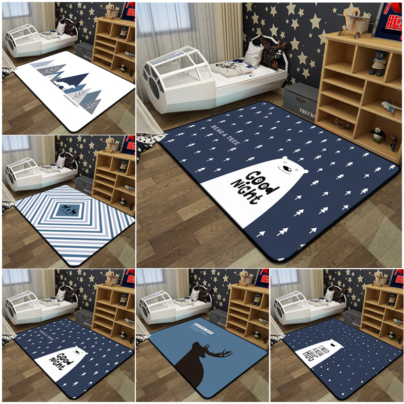 Geometric Living Room Decorative Carpets Anti Skid Rectangle Kids Room Play Tents Rug Deer/Bear Soft Sofa Coffee Desk Carpet