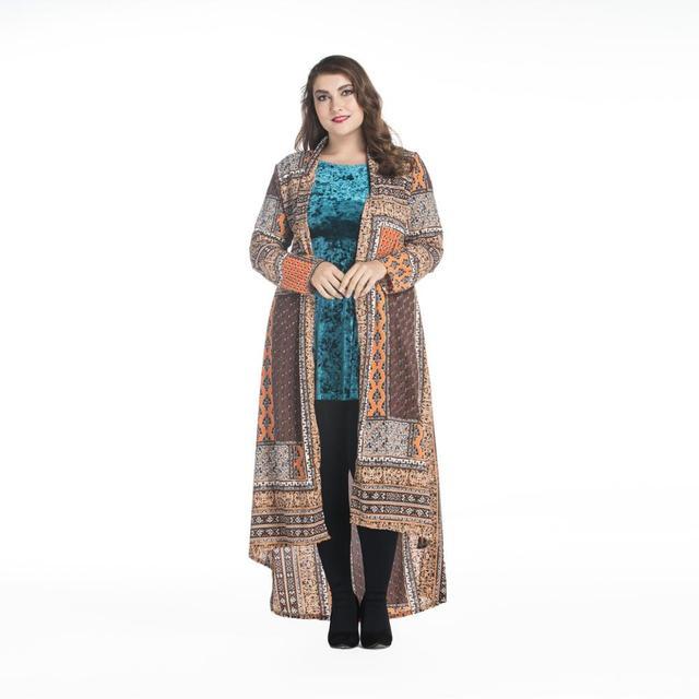 Muçulmano impresso tamanho máximo cardigan djellaba turco mulheres roupas casaco longo dubai moda de alta qualidade casaco de lã outwear