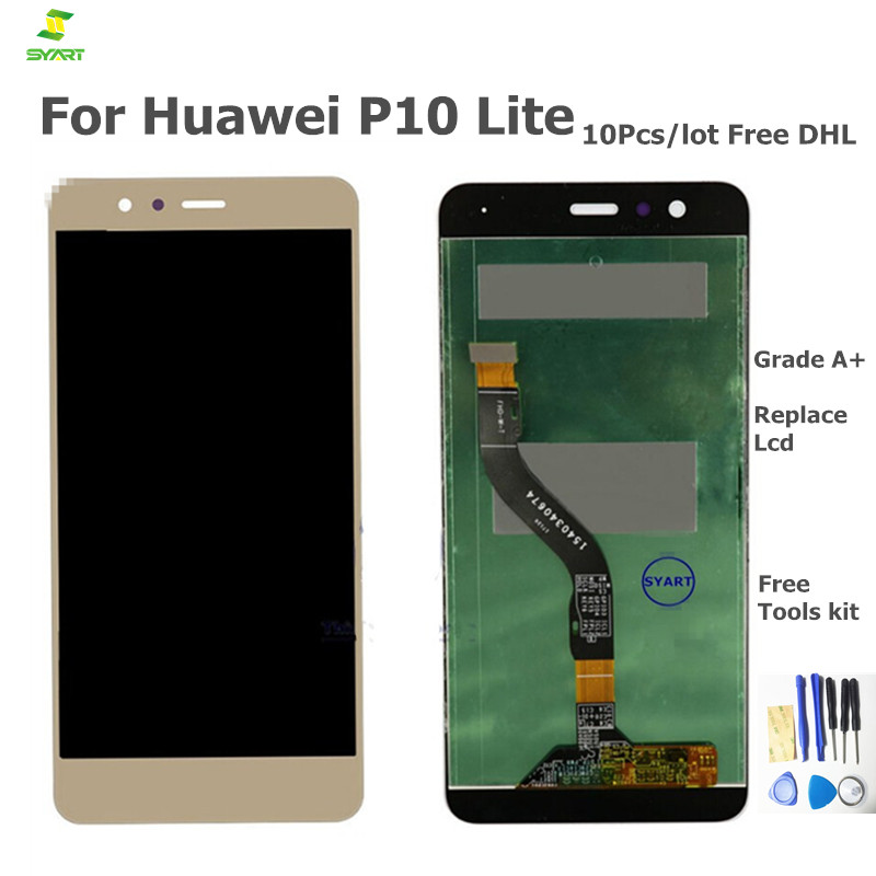 AAA 100%Test New For Huawei P10 lite Lcd Display With Touch Screen Digitizer Assembly Cell phones Parts White and Black Gold