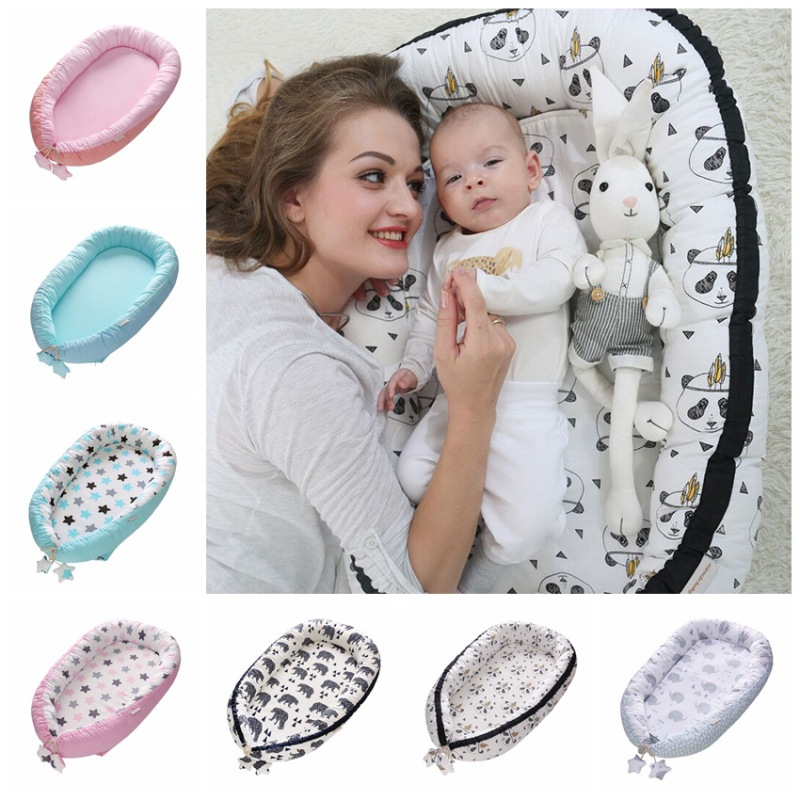Portable Newborn Baby Middle Bionic Bed Washable Cotton Cradle Bumper Multiple Styles Travel Bed