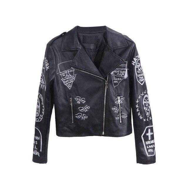 Gothic Motorcycle PU faux Leather Jacket Women Winter Autumn New Fashion Coat black PatternOuterwear jacket New 2018 Coat HOT