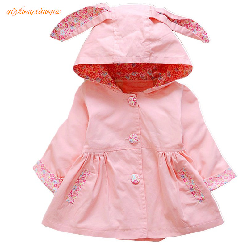 2016 Lolita Style Hooded Outerwear Baby Girl Jacket Fashion różowy Full-Sleeve Kurtki dla dziewczynek Wiosna Jesień Bawełna Płaszcz dziecięcy