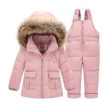 Garnitury zimowe dla chłopców dziewcząt 2017 chłopcy Ski Suit dzieci Odzież zestaw Baby Duck Down kurtka płaszcz + kombinezon ciepłe Kids Snowsuit tanie tanio Odzież wierzchnia i Płaszcze W dół Parkas Down Polyester Stałe Unisex Regularne Farthestsailing Moda Hooded Pasuje do rozmiaru Weź swój normalny rozmiar