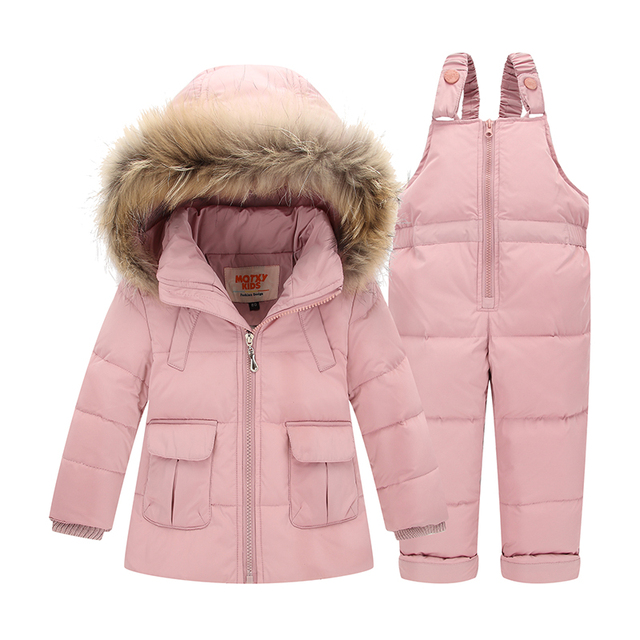Big Promo Winter Suits for Boys Girls  2017 Boys Ski Suit Children Clothing Set Baby Duck Down Jacket Coat + Overalls Warm Kids Snowsuit