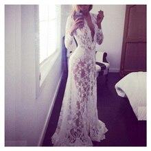 Купить с кэшбэком White deep V-neck long-sleeved lace dress Tight tight tail with a beach dresses
