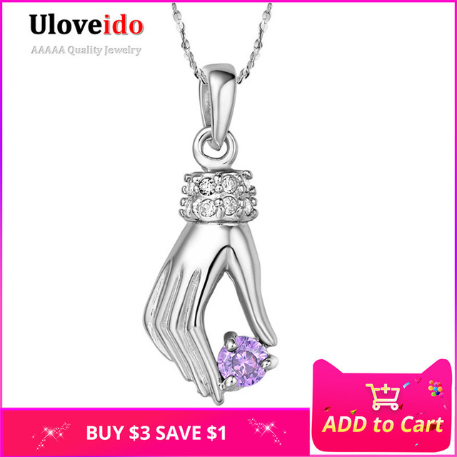 Crystal Bijouterie Silver Pendant Necklace Hand Pendants Fashion Necklaces Gifts for Women 2017 Purple Charms Uloveido N362