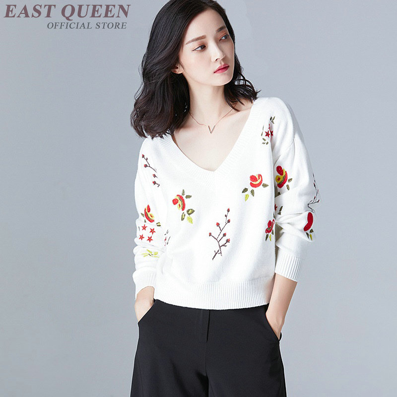 Female women's sweater in spring  embroidery floral pullovers deep sexy v-neck full sleeve  women tops sweater AA3328  F