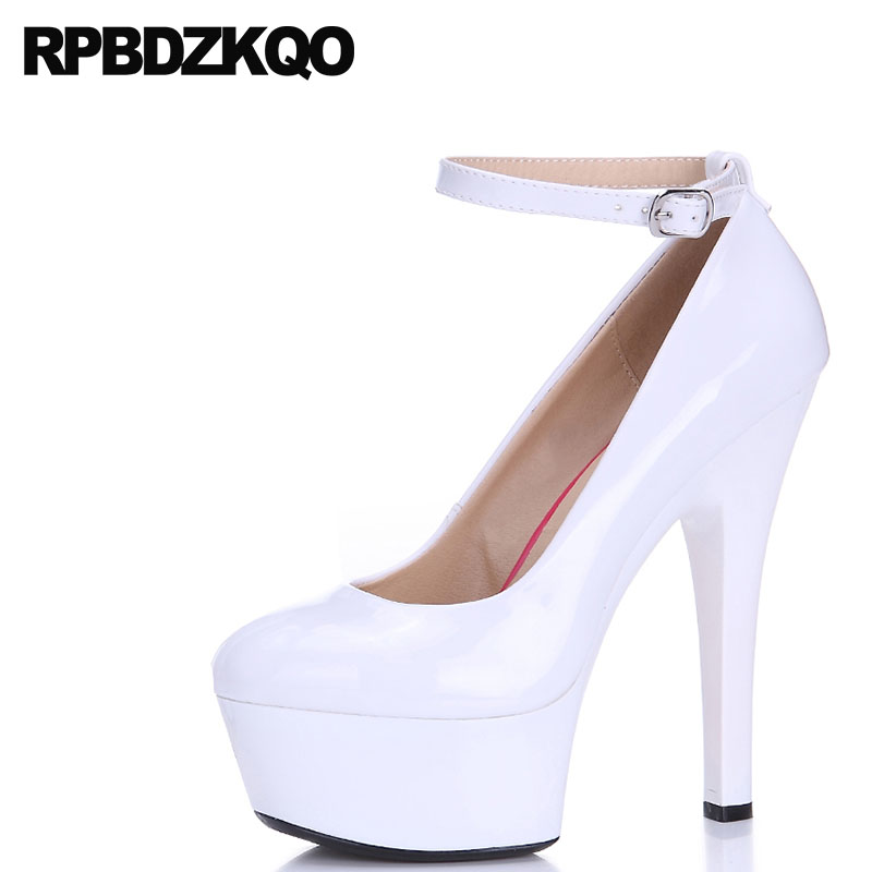 Red Patent Platform Shoes Ankle Strap Sexy Scarpin Clear Ladies Plus Size High Heels Pumps 11 43 Crossdresser 12 44 Round Toe spaghetti strap asymmetric tie dye plus size top