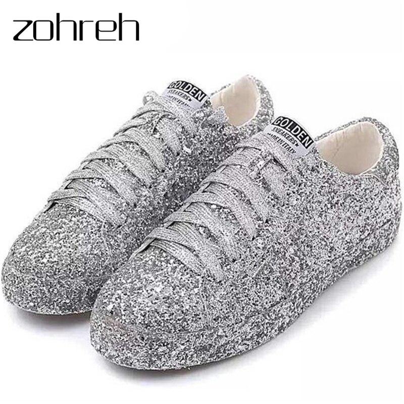 ZOHREH 2019 Rues Gardiste De la Mode Glitter Argent Paillettes à lacets Bout Rond bling Plat chaussures décontractées Dames chaussures d'escalade