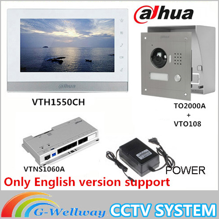 Original 7 Inch Touch Screen Brand VTH1550CH Color Monitor with VTO2000A outdoor IP Metal Villa Outdoor Video Intercom sysytem original ahua english version vth1510ch color monitor with vto2000a outdoor ip camera video intercom system with vtob108 box