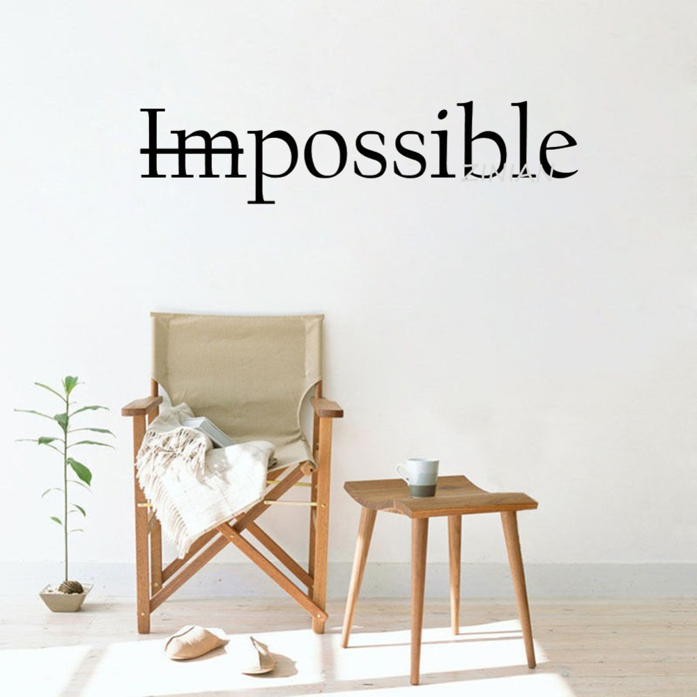 Motivation Quote Words Impossible Wall Decal Bedroom Possible Inspiring Letters Vinyl Wall Stickers Office Room Decoration Z146