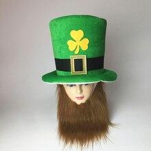 3df558e2a7f1a Engraçado Verde do Trevo Irlandês Leprechaun Top Hat Headband 2019 Saint  Patrick decoração Do Partido