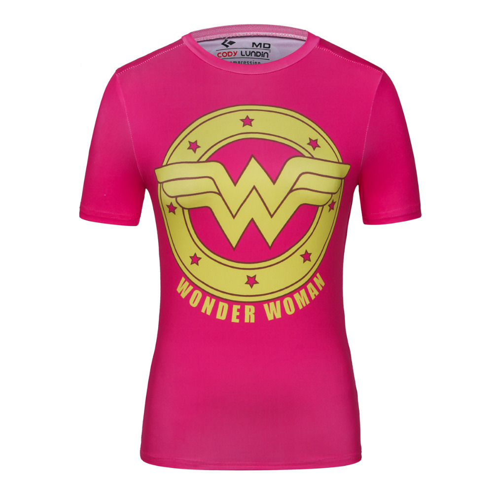 2016 newest marvel superman captain america wonder woman for Compressed promotional t shirts