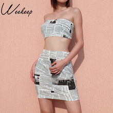 b622ef497b Weekeep Printed Tube Top And Skirt Two Piece Set Women Summer Sexy Bodycon  Crop Top And