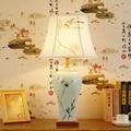Современные китайские керамические настольные лампы для гостиной  светодиодные лампы для кровати  прикроватные светильники  настольные ла...