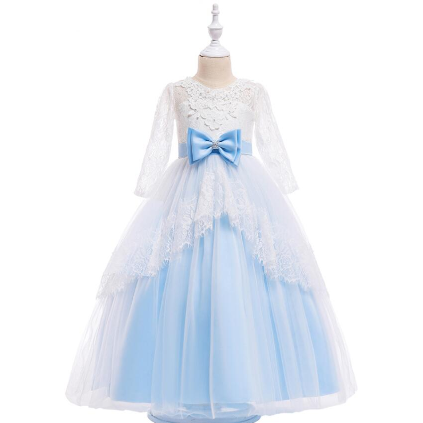цена на Teenage Girl Long Gown for Girls Party Wear Children Clothing Luxury Backless Party Dresses Girls Lace Dress Wedding Flower Girl