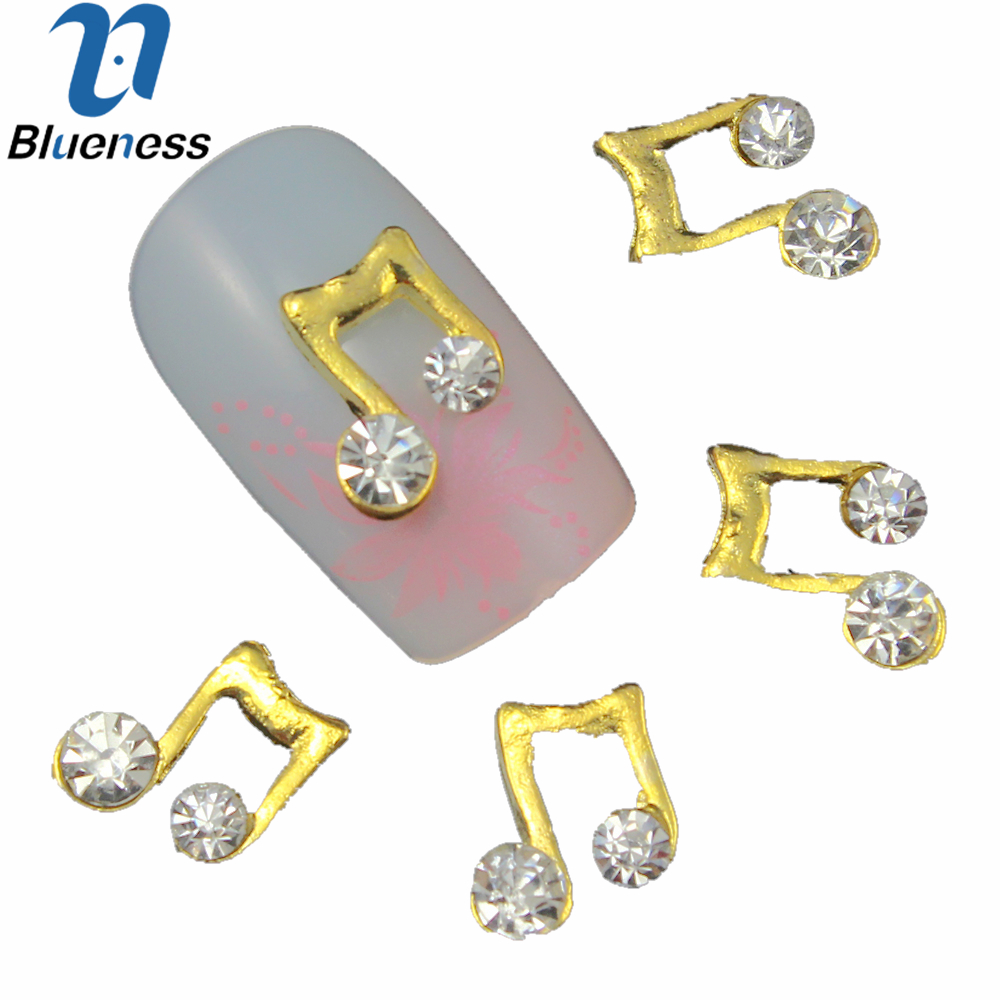 10 Pcs Lot 3D Gold Alloy Nail Art Decorations Crystal Rhinestones For Nails  Music Note 69b3f5cc1858