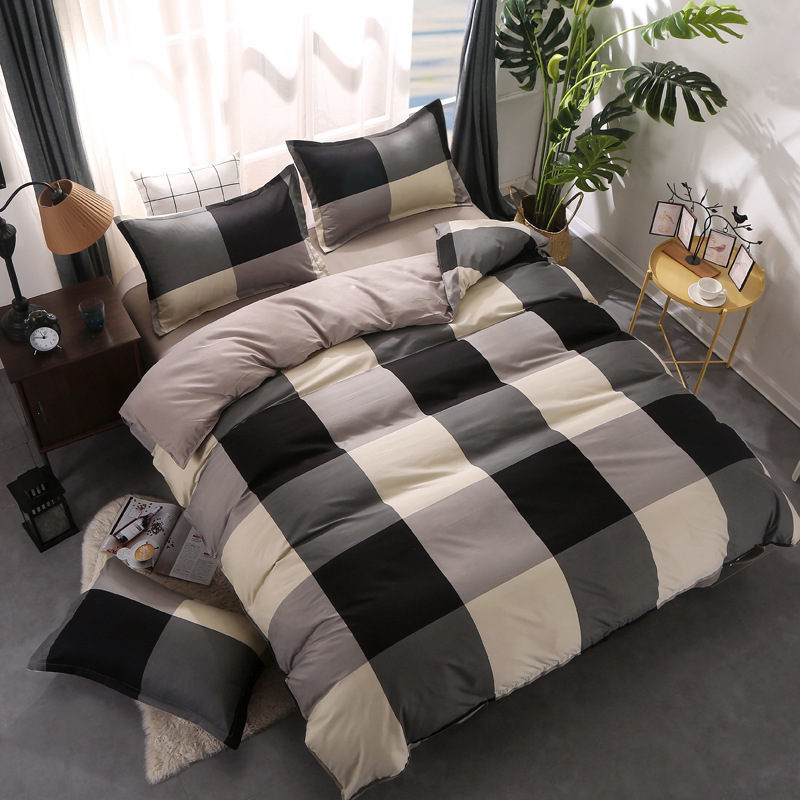 Plaid 4pcs Girl Boy Kid Bed Cover Set Duvet Cover Adult Child Bed Sheets And Pillowcases Comforter Bedding Set 2TJ-61013
