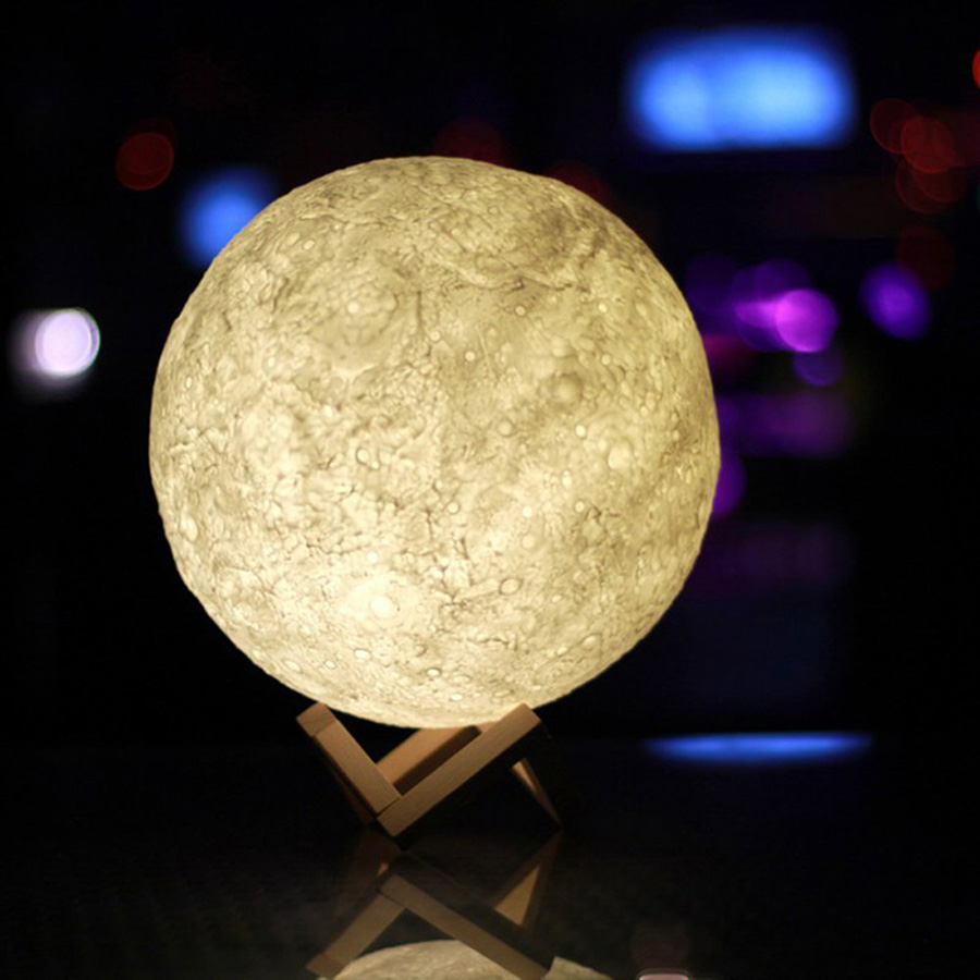 3d Printing Moon Led Night Light Touch Switch Moonlight