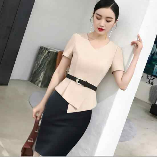 cbf9160a184 2018 New Summer Short Sleeve Apricot Women skirt suit two piece set for  business office ladies