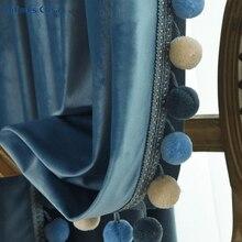 Cortina de janela blackout de veludo, decoração de pompon em cor lisa para sala de estar e quarto