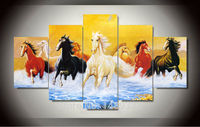 5 Sets Colorful Running Horse Print Painting Modern Canvas Wall Art For Wall Decor Home Decoration
