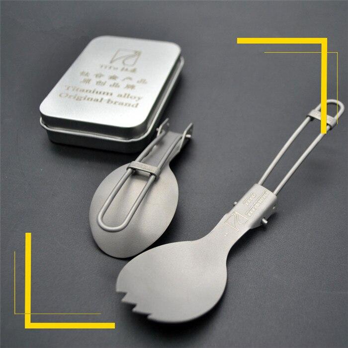 10pcs Hot Sale Folding Titanium Spoon Tableware Portable Camping Cutlery Convenient Titanium Spork
