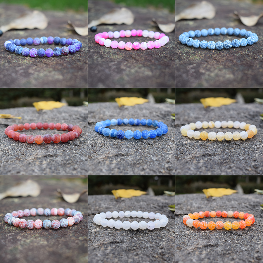 Colorful Weathered Agates Beaded Bracelet Women Men Couple Semi-precious Stone Bracelets Handmade Jewelry Pulsrea