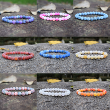 Colorful Weathered Agates Beaded Bracelet Women Men Couple Semi-precious Stone Bracelets Handmade Jewelry Pulsrea