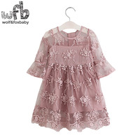 Retail 2 10 Years Half Sleeves Girl Lace Embroidery Dress Children Spring Autumn Fall Summer