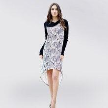 72c896f32a0e 3xl más tamaño mujeres primavera otoño Vestidos 2018 moda arco Masajeadores  de cuello irregular vestido elegante patchwork casua.