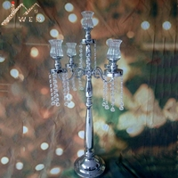 Silver 5 Heads Candelabra H 85 cm Candle Holder with Glass Candle Cups Exquisite Design Wedding Centerpiece with Pendants