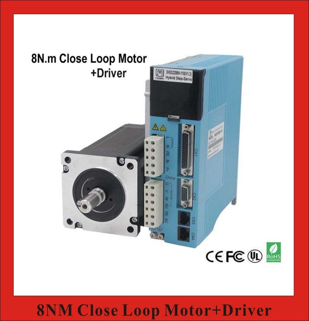 NEMA 34 3 Phase 8NM Closed Loop Stepper Servo Motor Driver Kit for CNC Cutting Machine Engraving Machine closed loop 2n m nema 23 2 phase step servo driver kit stepper driver 2hss57 motor 57j1880ec 1000 sm742 sd