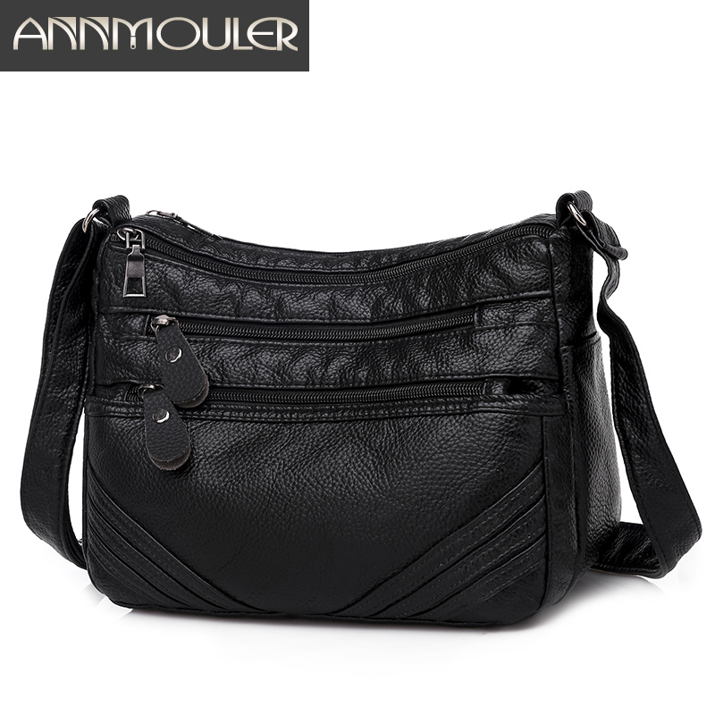Annmouler Fashion Women Crossbody Bag Pu Leather Shoulder Bag Black Soft Messenger Bag For Girls Designer Women Handbags Purse