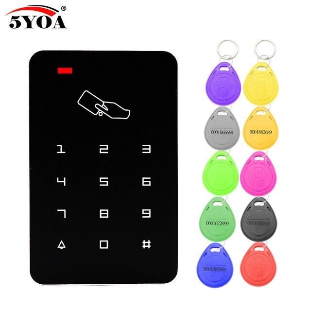 Samodzielny kontroler dostępu z 10 sztuk EM breloki do kluczy RFID klawiatura kontroli dostępu wyświetlacz cyfrowy czytnik kart dla system blokady drzwi