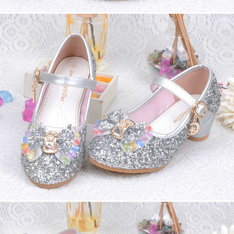 1_082016 spring Kids Girls High Heels For Party Sequined Cloth Blue pink Shoes Ankle Strap Snow Queen Children Girls Pumps Shoes