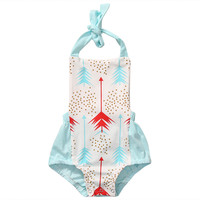 2017 Newborn Baby Girls Arrow Print Romper Jumpsuit straps Halter Backless Jumpsuit Outfits Sunsuit One piece Summer Clothes