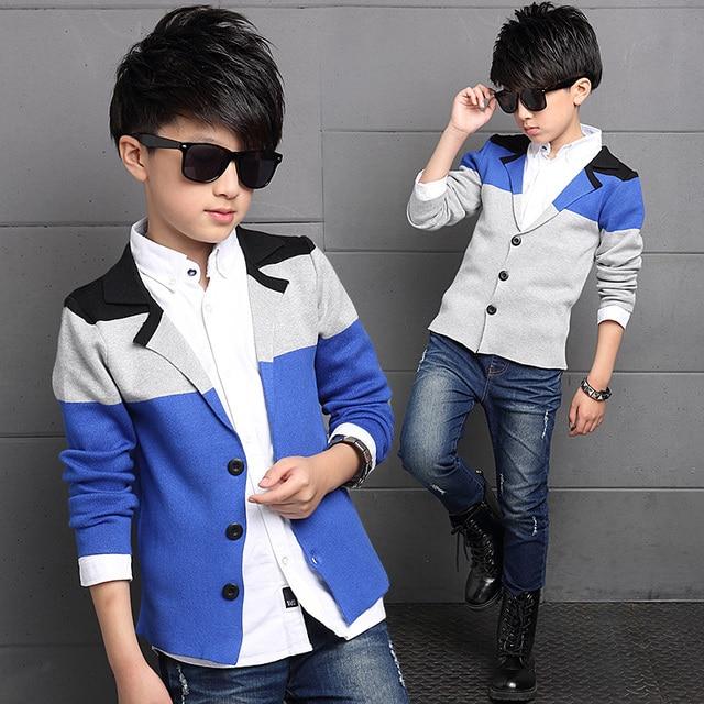 Newest Boy's Suit Jacket Fashion Korean Children's Leisure Suits Spring and Autumn Large Boys Sweaters Cardigan Suit Jackets