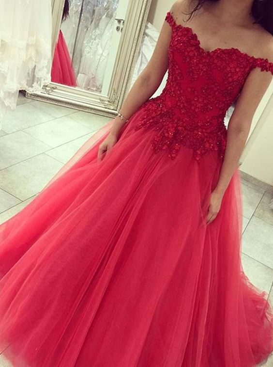 f8ebbd751b36 Custom Made Top Appliques Off the Shoulder Tulle Skirt Long Evening Dresses  Red Corset Ball Gown Prom Dress