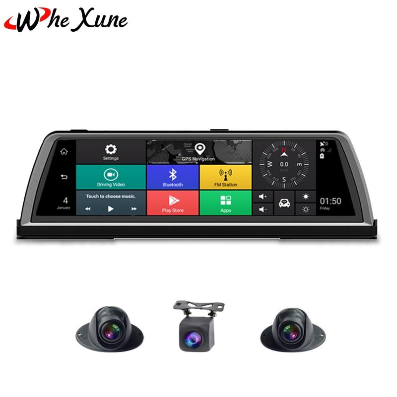 WHEXUNE 2019 nouveau FHD 1080 P 4G 4 canaux ADAS Android voiture DVR Dashcam 10 console centrale miroir GPS WiFi lentille arrière enregistreur vidéo