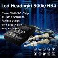 Super Bright White Canbus 9006 HB4 6000K 55W 6600LM 110W Car C ree XHP70 chip LED Headlight Bulb Lamp Conversion Kit Fanless