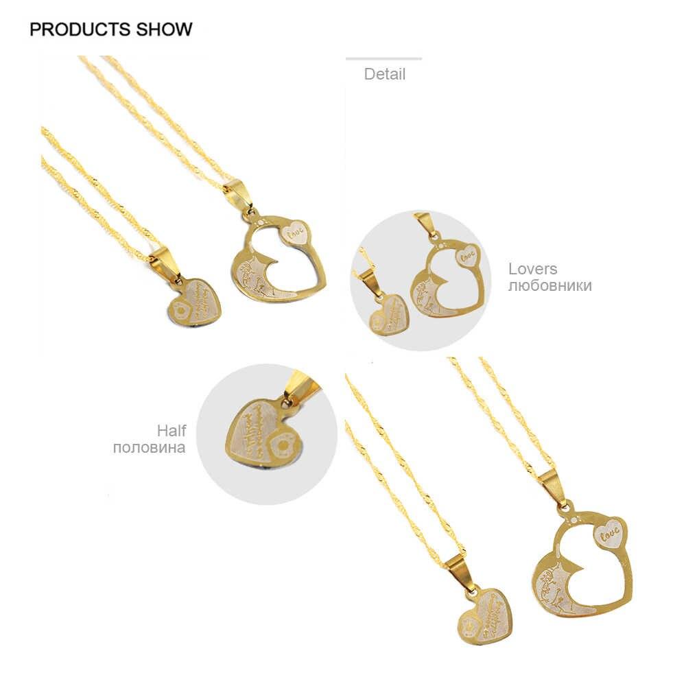 Просто FEEL 2 шт ожерелье лучшие друзья ювелирные изделия из нержавеющей стали сердце подвеска для пары парные ожерелье унисекс влюбленные подарок на день Святого Валентина