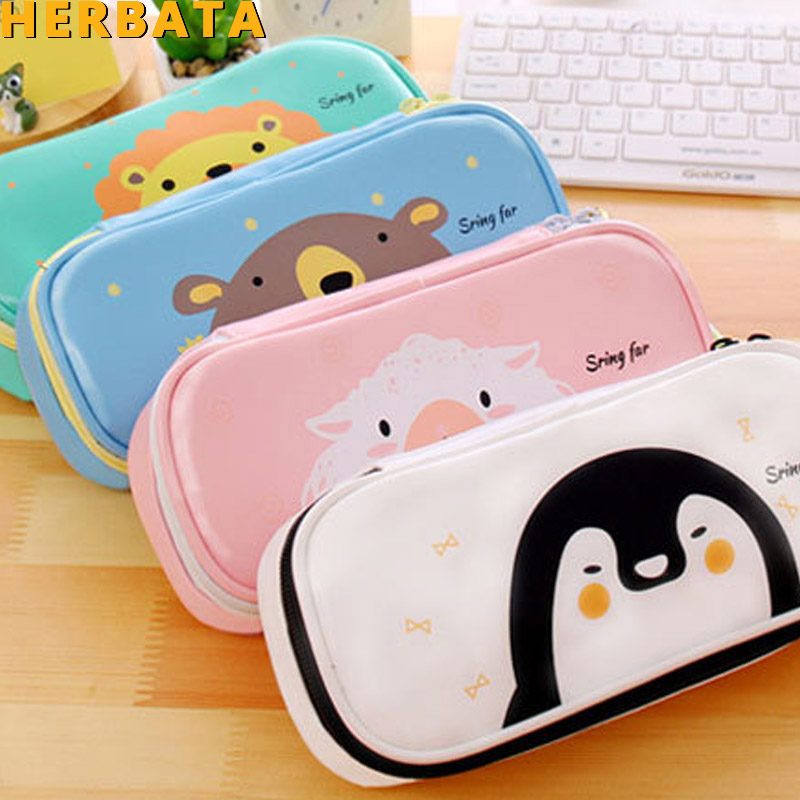 Cute Cartoon Animal Pencil Case Pencil Box Student Pen Bag Purse School Supply Cosmetic Pouch Makeup Bag Escolar Papelaria 1970