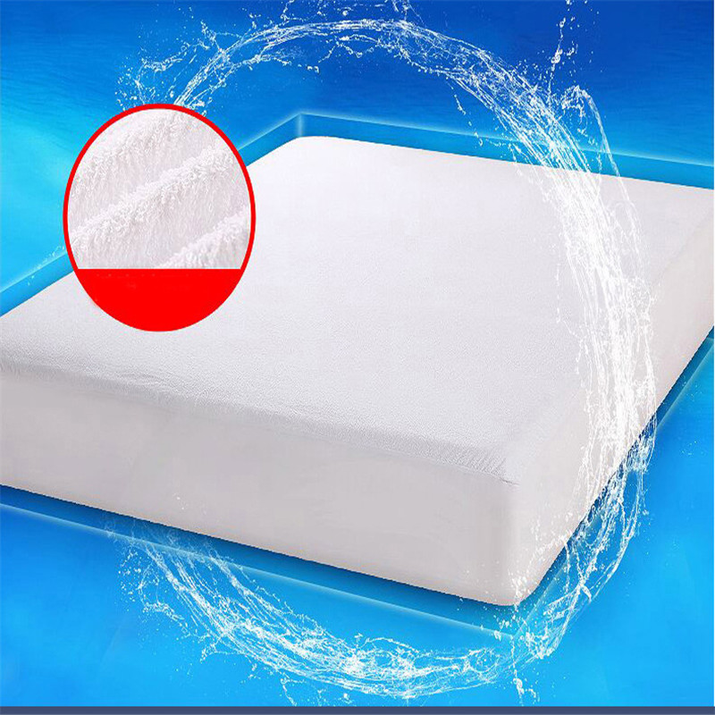 Luxury Terry Cloth Mattress Cover 100% Waterproof of TPU Mattress Protector Sheet On Elastic against perspiration liquids stains
