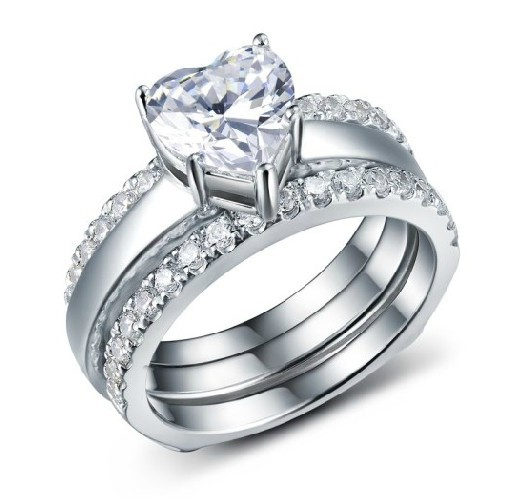 Romantic 2ct Heart Shape Wedding Sets Rings Real 925 Sterling Silver