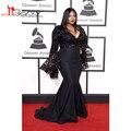 2016 Grammy Awards Vestidos de Celebridades Plus Size Mangas Compridas Jazmine Sullivan Sexy Prom Vestidos Lace Sereia Vestido de Noite Preto