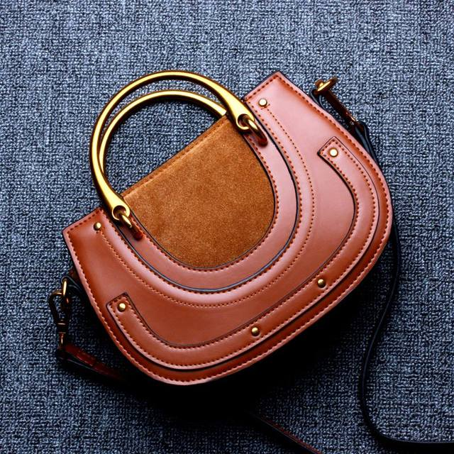 Genuine Leather Vintage Saddle Cow Leather Suede Ring Female Bag Shoulder Bags Fashion Handbags 2017 Crossbody Bag