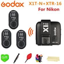 Godox X1T-N Wireless TTL HSS Transmitter Tigger + 3* XTR-16 Wireless 2.4G Power Control Receiver Flash For NIKON AD360 AD360II